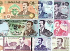 IRAQ SADDAM HUSSEIN 9 PCS SET 1986-2002 P 73 75 80 81 84 85 86 88 89 UNC-AUNC