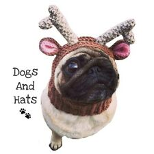 The Reindeer Deer hat, snood for your dog. Pug hat. Dog Hat. Xmas Costume