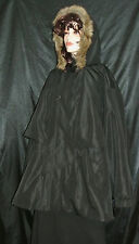 NWT CATHERINES WARM COAL BLACK HOOD FAUX FUR ZIP OUT FLEECE 2FER 3X MSRP $249