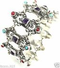 TAXCO MEXICAN STERLING SILVER TURQUOISE AMETHYST BEADED SCROLL BRACELET MEXICO