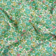 Liberty ~ Betsy R Teal Green Tana Lawn Fabric / quilting dressmaking floral