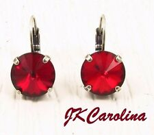 Rivoli Red Crystal Rhinestone Leverback Earrings made w/ Red Swarovski Crystals