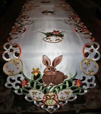 "EASTER & SPRING EASTER RABBIT EASTER EGG TABLE RUNNER EMBROIDER DECOR  68""x13"