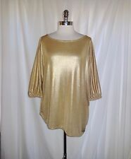 INC International Concepts Plus Size 1X Shirt Top Gold Shimmery Stretch