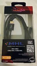 NEW BestBuy Rocketfish Brand 8 ft MHL cable black 1080p FULL HD micro USB   HDMI