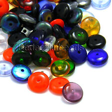 Huge Lot of 100 Assorted Color 8mm x 3mm Czech Glass Rondelle Disc Spacer Beads