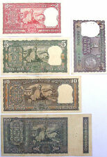 FULL NOTE SET Rs.100+10+5+2+1-BACK SIDE GANDHI - INDIA