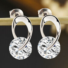1 Paar Mode Damen Silber Kristall Strass Ear Stud Ohrringe Hoop Schmuck