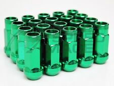 Z RACING GREEN STEEL 20PCS LUG NUTS 12X1.5MM OPEN EXTENDED 17MM KEY TUNER