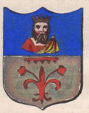 1865 Stemma di Rezzato (araldica civica), Brescia cromolitografia