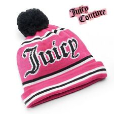 NWT Juicy Couture ''Juicy'' Pom-Pom Rolled Beanie Hat Fashion Cozy Pink -