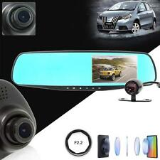 "4.3"" HD 1080P Dual Lens DVR Dash Recorder Camera Monitor Car Rearview Mirror TL"