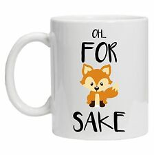 Oh for Fox sake Mug, cute cartoon fox funny gift idea kawaii fox mug, funny joke