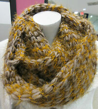 Fuzzy Knit Scarf Infinity Loose Stitch Long Circle Tan Speckled Gold NWT DC757