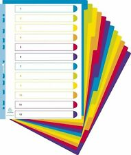 A4+ Extra Wide 12 Part Plastic File Dividers Translucent Bright Colours