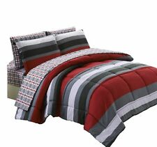 U.S. Polo Assn. Garfield Striped/Check Bed-in-a-Bag 5-Piece Comforter Set, Twin