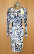 Karen Millen Black White Long Sleeve Pencil Dress UK 8 US 4 Stretch Satin £160