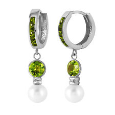 4.3 Carat 14K Solid White Gold Huggie Earrings pearl Peridot