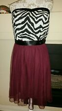 Debs Women's party dress strapless Black white maroon size 18