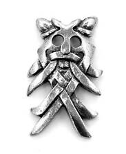Norse God Odin's Mask Pin Badge in Fine English Pewter, Handmade, Viking (wa)