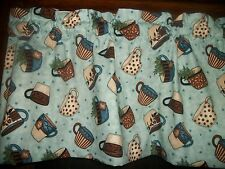 Coffee Chia Tea Shop Cups Blue Polka Dot Stripes fabric kitchen curtain Valance