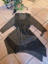 LAGENLOOK: ZIPFEL Strick Kleid + Tunika SARAH SANTOS 40/42 M NEU! schlamm Wolle