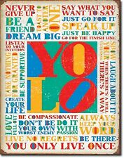 You Only Live Once YOLO TIN SIGN rustic metal quote poster bar wall decor 2029