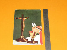 CHROMO 1962 CATHOLICISME IMAGE PIEUSE HOLY CARD COMMUNION CRUSIFIX HOSTIE