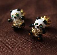 Costume Fashion Earrings Studs Enamel Black White Panda Cute Retro Vintage N2