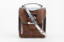 Etro Brown Silver Metallic Coated Canvas Leather Paisley Buckle Shoulder Bag