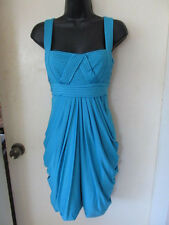 NWT $248 BCBG MAX AZRIA PLEATED BANDAGE TOP COCKTAIL DRESS SZ M in CYAN