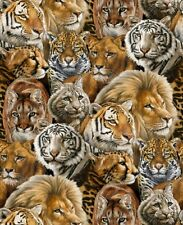 Fat Quarter Big Cats Cotton Quilting Fabric Elizabeth's Studio Tiger Lion Puma