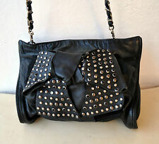 Rare MIMCO Black Leather Studded Bow Tie Handbag Cross-Body/Shoulder Bag w Chain