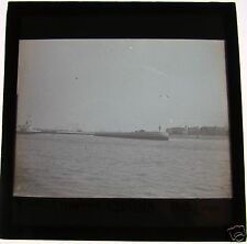 Glass Magic Lantern Slide MOUTH OF HARBOUR OSTEND C1900 BELGIUM