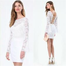 BEBE WHITE BACK LACE UP LONG SLEEVE DRESS NEW NWT $119 SMALL S