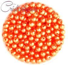 Lot de 100 Perles ronde nacré acrylique orange 6 mm
