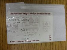 23/02/2003 Ticket: Rugby Union, Rotherham v Plymouth  . Thanks for viewing our i