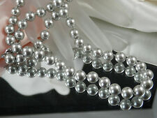 Very Lovely Vintage Monet Signed Silvery Tone Faux Pearl Necklace  468JE4