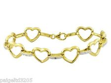 """Gold over Sterling Silver .01 ctw Diamond Accent 7""""  Heart Bracelet"""