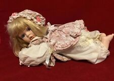 "Vintage Porcelain Baby Doll In Crawling Position Very Cute Collectible 16"" Long"