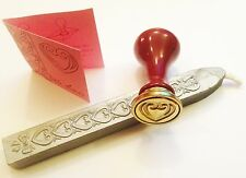 WEDDING LOVE HEART CERAMIC STAMP SEAL & SEALING WAX LOVE INVITATION CHRISTMAS