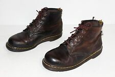 VTG Doc Dr Martens England Dark Brown Leather 6 Eye Ankle Boots US 10 DISTRESSED