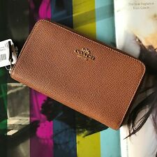 Coach 53981 Saddle Brown Leather Medium Zip Around Wallet NWT $140