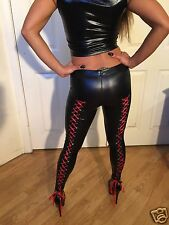 Black Faux Wet Leather Leggings With High Corset back detail  (NOT LACED)   S