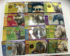 "Malaysia Coin Card ENDANGERED ANIMALS 12pcs Complete Set  ""BU"""