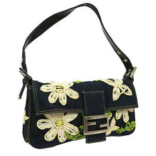 Auth FENDI Embroidery Flower Mamma Bucket Shoulder Bag Blue Denim Vintage V04566