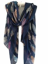 Ladies Striking Feather Print Pashmina Scarf Wrap Shawl Navy Mixed Colours New