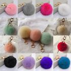 Cell Phone Car Keychain Pendant Handbag Key Ring Rabbit Fur Ball PomPom