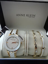 Anne Klein 12/2242GBST Ceramic Watch and Bangle Set Gold
