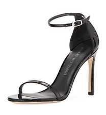Stuart Weitzman Nudistsong Ankle Strap Sandal Black Patent Leather Size 7.5M